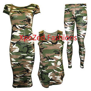New-Womens-Camouflage-Army-Print-Leggings-Vest-Top-Cap-Sleeve-Midi-Size-SM-ML