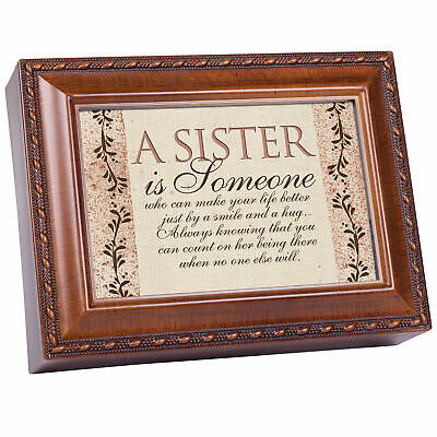 Sister Is Someone Woodgrain Music Box/Jewelry Box Plays Wind Beneath Wings