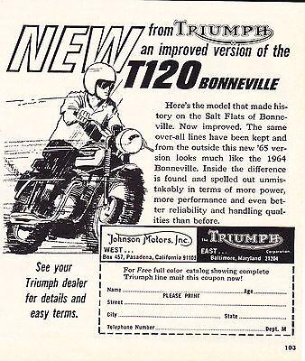 1965 TRIUMPH T120 BONNEVILLE MOTORCYCLE  ~  ORIGINAL SMALLER PRINT AD