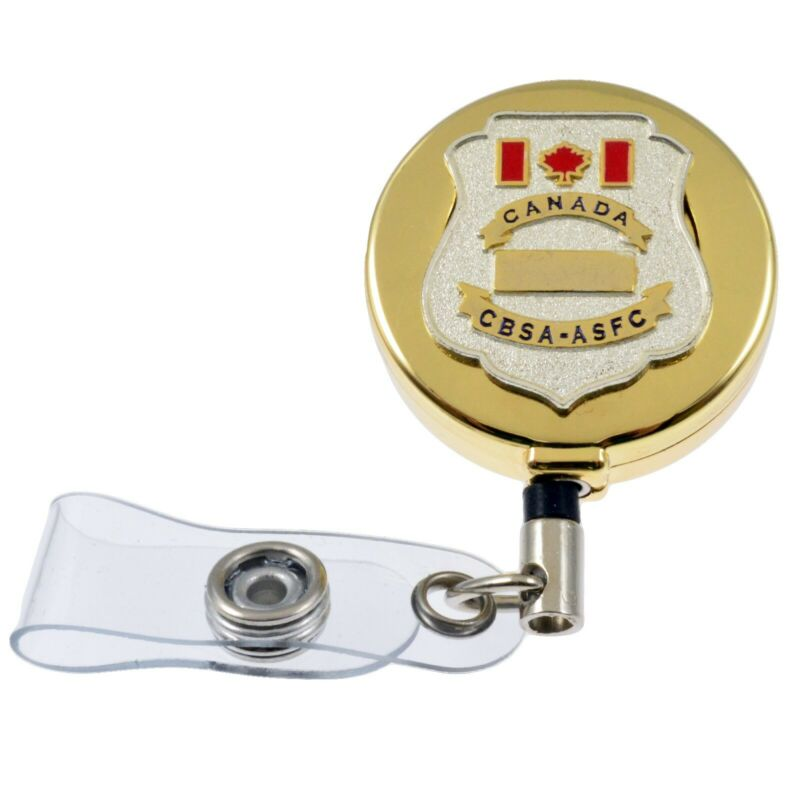 Canada Customs CBSA Retractable Security ID Card Badge Holder Reel Lanyard Gold