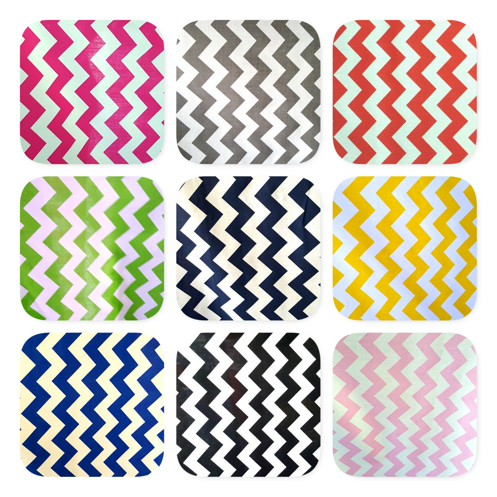 White Polycotton Fabric with Zig Zag Chevron Print Per Metre 4 Colours