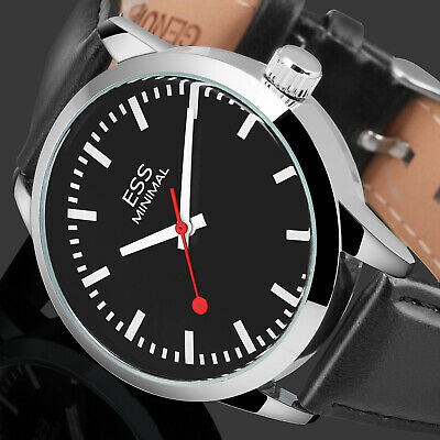 - ESS Mens Watch Automatic Black Dial Leather Strap 3 Hands Analog Display Luxury