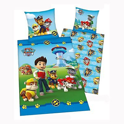 PAW PATROL GANG SINGLE COTTON DUVET COVER AND PILLOWCASE SET OFFICIAL BEDDING