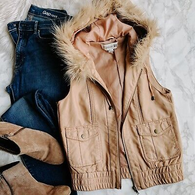 Forever 21 Faux Leather Hooded Vest Tan Faux Fur Trim Womens S ()