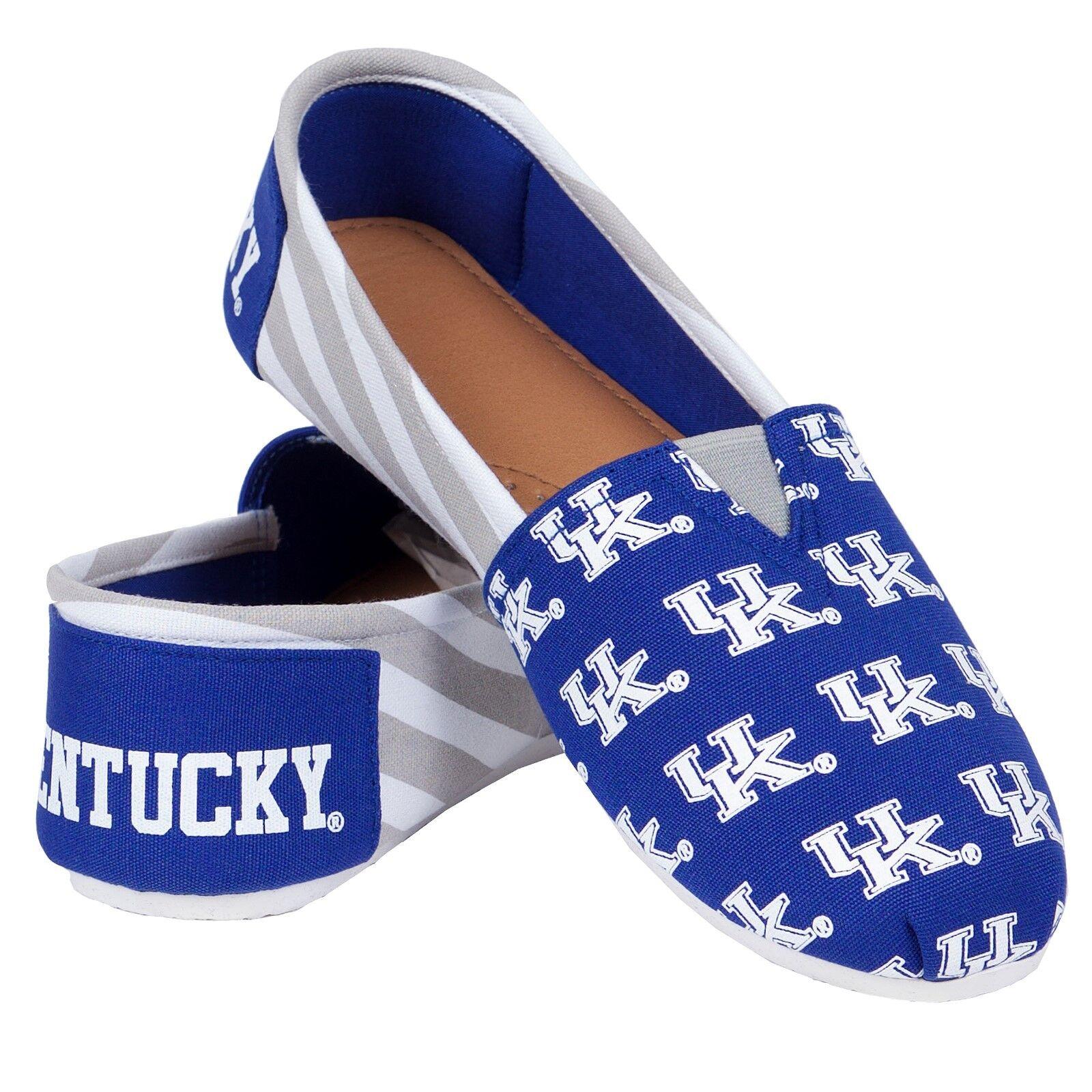 NCAA College Team Logo Stripe Womens Slip On Canvas Shoes - Choose Team