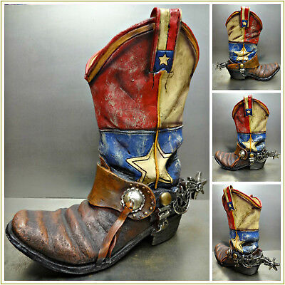 WESTERN Rustic COWBOY BOOT & SPUR VASE DECORATION Hand Painted Texas Flag Large