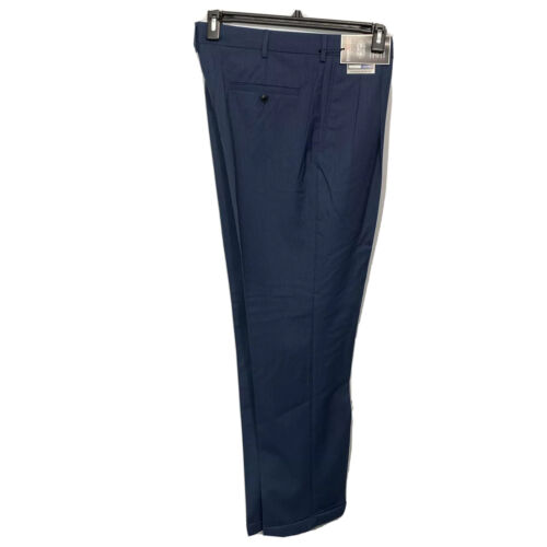 Roundtree & Yorke Travel Smart Classic Fit Pants 34×32 Blue pleated cuffed Clothing, Shoes & Accessories