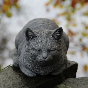 Prowling Dozing Cat Statue Garden Ornament Sculpture Stone Pet Memorial Gift