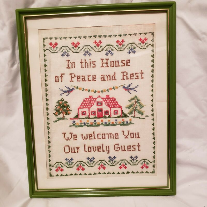 vintage counted cross stitch sampler style completed and framed
