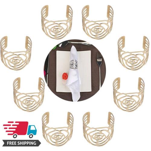 8PCS Gold Napkin Rings Rose Metal Serviette Buckle Holders W