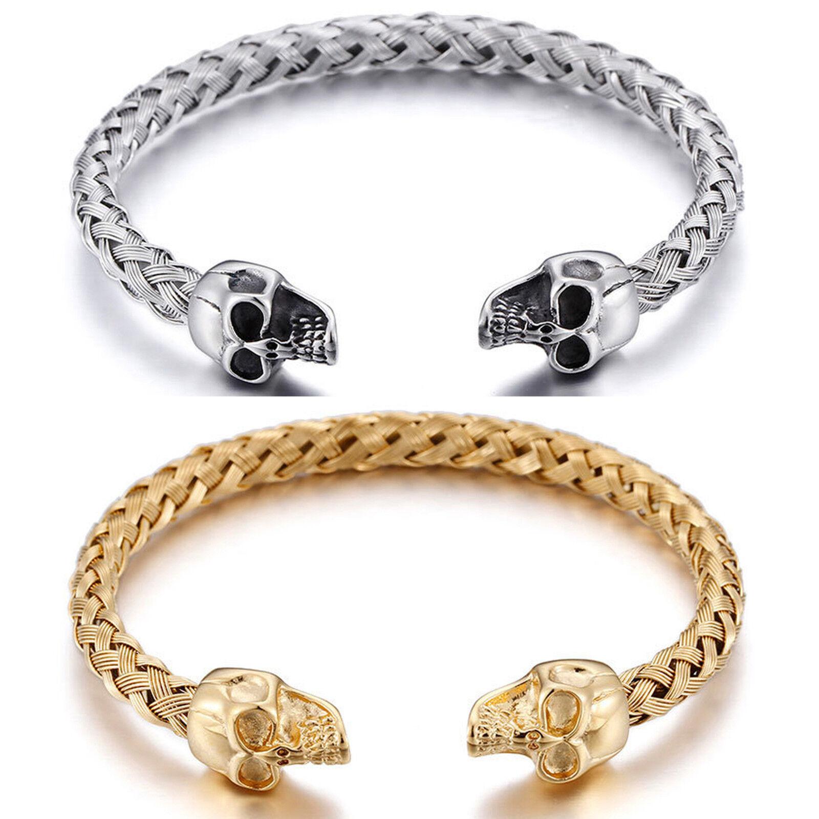 Men's Stainless Steel Gothic Skull Bangle Bracelet (Silver or Gold Color) Bracelets