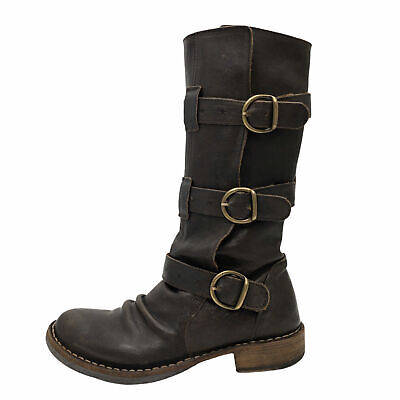 Fiorentini + Baker Eternity Brown Leather Triple Buckle Mid Calf Boot Size 35 5