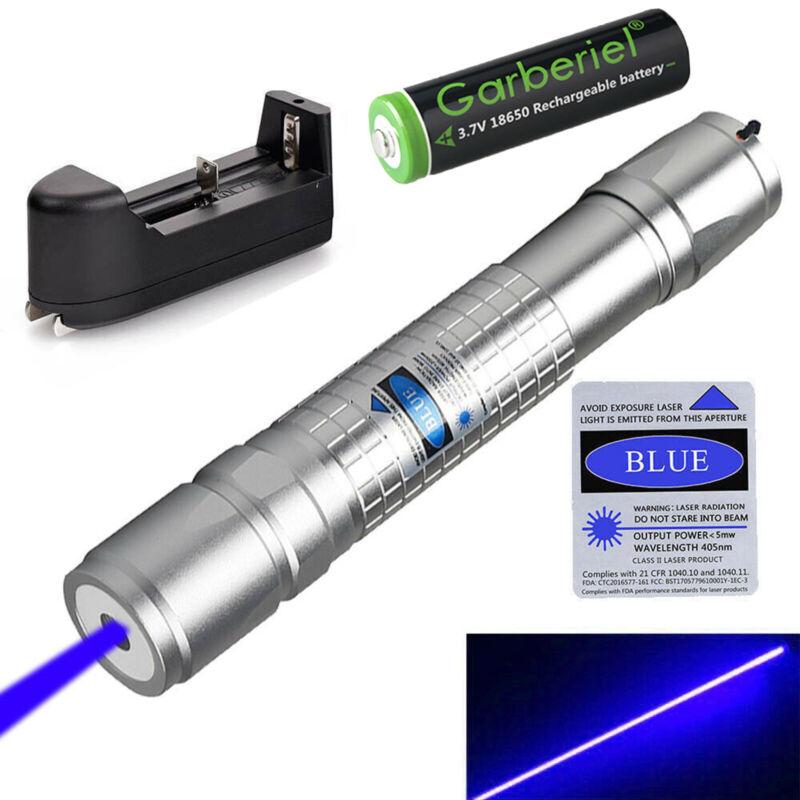 900 Miles 405nm Blue Purple Laser Pointer Pen Visible Beam Light +Batt +Charger