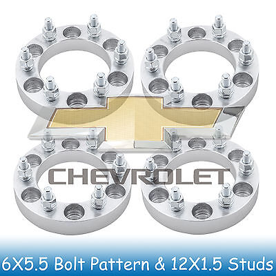 """1"""" Chevy Wheel Spacers 6x5.5 to 6x5.5 with 12x1.5 Studs for Colorado 2004-2012"""