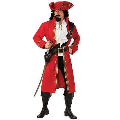 Adult Men's Red Rum Pirate Captain Hook Morgan Coat Hat Shirt Halloween Costume