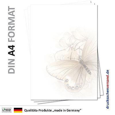 25 Blatt Motivpapier-5102 DIN A4 Briefpapier Zeichnung Schmetterling und Blüten