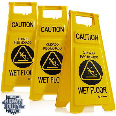 26 Caution Wet Floor Folding Sign Yellowenglish Spanish - Pack Of 3