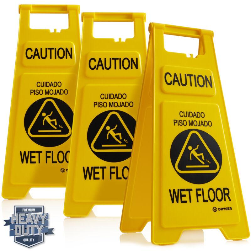 "26"" Caution Wet Floor Folding Sign, Yellow/English Spanish - Pack of 3"