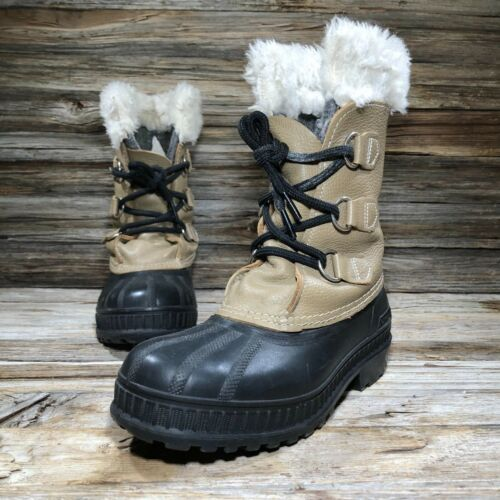 Sorel Ram Tan Wool Winter Lace Up Snow Boots Toddler Baby US 4 Wool Liners