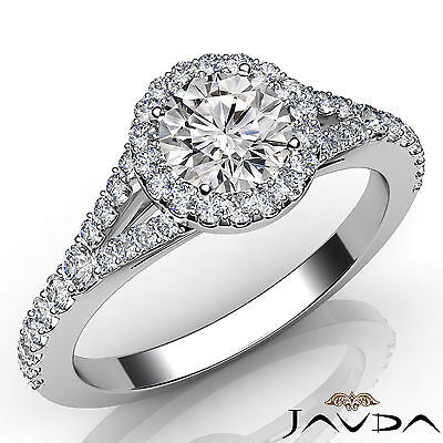 Halo Split Shank Round Diamond Engagement U Pave Setting Ring GIA F VS1 1.22 Ct