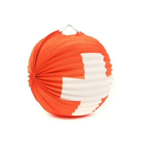 Vintage 50s 60s Swiss Cross Round Accordion Pleated Paper Hanging Lantern Party