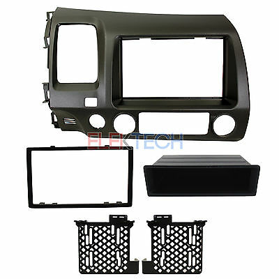 Radio Double/Single-DIN w/Pocket Dash Kit Install Replacement TAUPE for Honda Din Pocket Kit