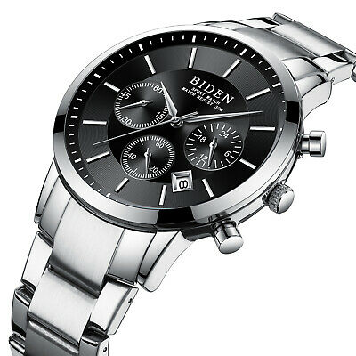 Mens Quartz Watch Black Dial Aolly Case 6 Hands Second Time Best Gift (Best Mens Casual Watches)