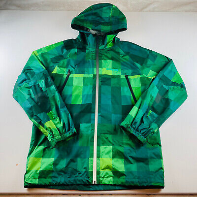 Burton Dry Ride Hooded Snowboard Ski Jacket Green Plaid Mens Size Medium