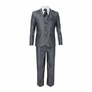 BOYS 5 PIECE SUIT FORMAL WEDDING PARTY JACKET TROUSERS WAISTCOAT SHIRT