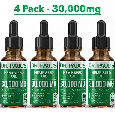 Hemp Oil Extract For Pain Relief, Stress , Anxiety, Sleep - 4 PACK 30,000 mg