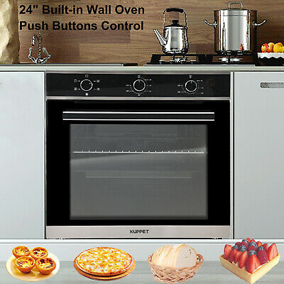 24 Built-in Single Home Electric Wall Oven Tempered Glass Push Buttons Control