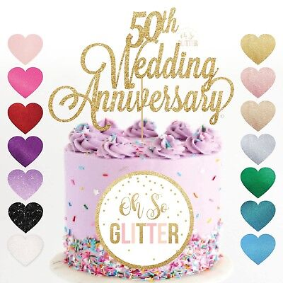 50th Anniversary Gold (50th wedding anniversary cake topper golden Glitter gold fifty customised years)