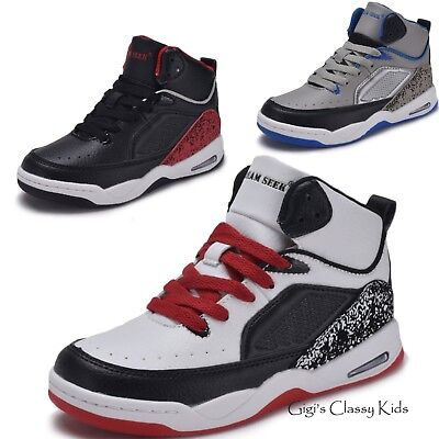 New Boys Girls High Top Sneakers Kids Tennis Shoes Basketball Athletic Youth