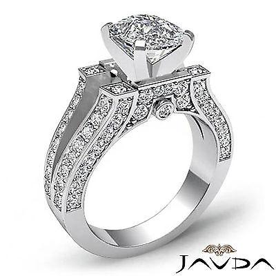 Vintage Split Shank Cushion Diamond Engagement Ring GIA Certified H VS2 2.2 Ct 1
