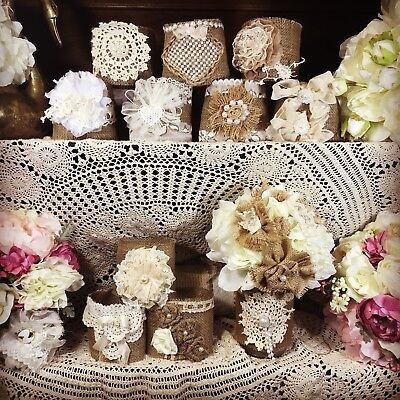 15  Shabby Decorations, Burlap and Lace Mason Jar Sleeves, Rustic Wedding (Burlap Centerpieces)