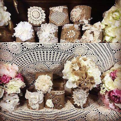 15  Shabby Decorations, Burlap and Lace Mason Jar Sleeves, Rustic Wedding ()