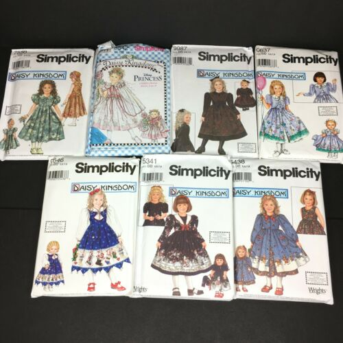 Simplicity Daisy Kingdom Lot of 7 Matching Girl Doll - Uncut Patterns