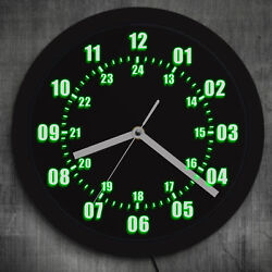 Military Time 24 Hours LED Wall Clock Military World Time Zone Amateur Decor