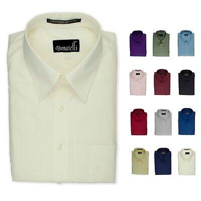 Donatelli Men's Dress Shirt   Classic Fit Point Collar Poplin   14 colors