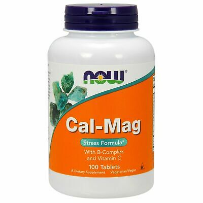 Now Foods CAL-MAG Stress, 1000 / 500 mg, 100 Tablets w/ Vitamin C, B-Complex Cal Mag Tablet Vitamins