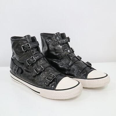 ASH Sneakers High Top Womens US9.5 EU40 Virgin 4 Buckle Black Patent Leather Patent Leather High Top
