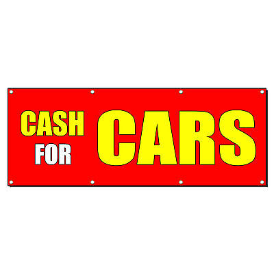 Cash For Cars Car Body Shop Repair Business Sign Banner 4 X 2 W 4 Grommets