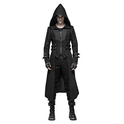 Adult Men's Gothic Steampunk Assassin Punk Metal Costume Hooded Jacket Tail Coat - Costume Assassin
