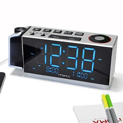 iTOMA iRP509 Clock Radio with Projection,Night Light, Dual Alarm, USB Charging