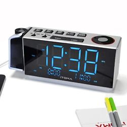 iTOMA CKS509 Clock Radio with Projection,Night Light, Dual Alarm, USB Charging