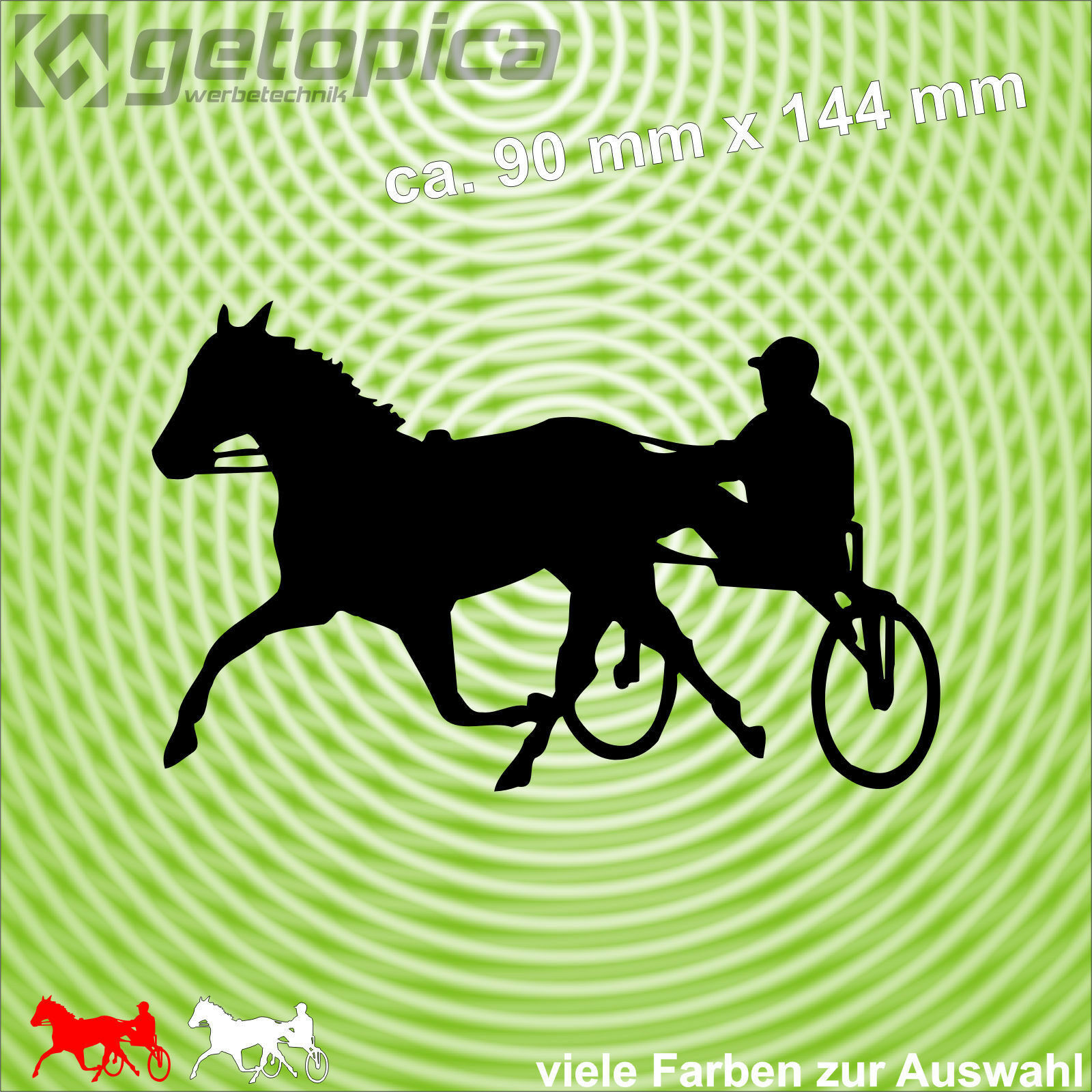 Traber Aufkleber Pferd Trabrennen Sulki Sport Autoaufkleber 14 cm