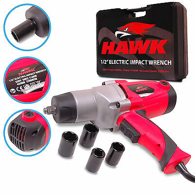 "HAWK TOOLS 1/2"" ELECTRIC IMPACT WRENCH SOCKET POWER BUZZ RATTLE GUN DRIVER SET"