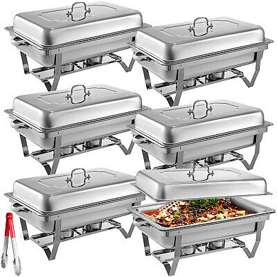 Buffet Server Set (6Pack Chafer Chafing Dish 8QT Buffet Server Restaurant Service Warm Tray)
