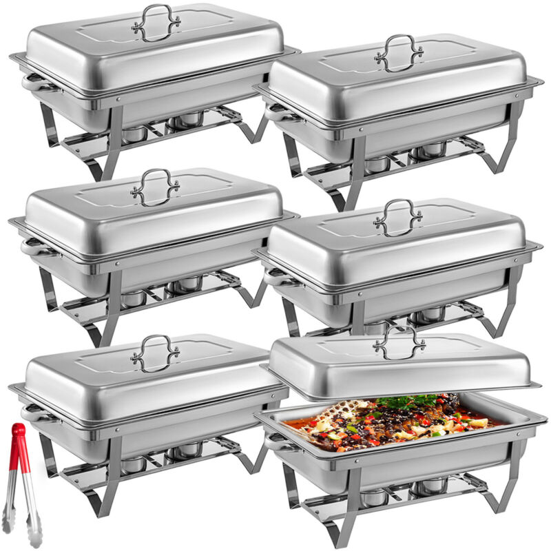 6Pack Chafer Chafing Dish 8QT Buffet Server Restaurant Service Warm Tray Set