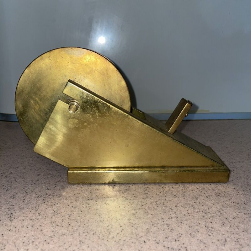 Vintage Mid Century Modern Sculptural Brass Tape Dispenser Holder Desk Accessory